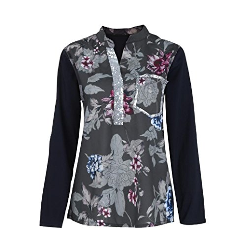 Fox Black Microfiber Jacket - Clearance!Todaies Women Plus Size Shirt V-Neck Print Long Sleeve Sequined Blouse Pullover Tops Shirt