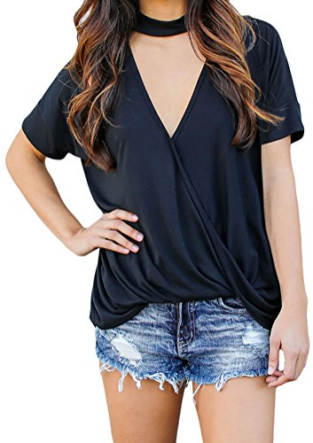YeeATZ Women Black Choker Neck V Cut Drape Loose Fit - Jersey Shore Mall