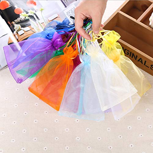 100pcs Organza Wedding Party Favor Gift Bag Candy Present Drawstring Pouches (Color : Purple, Size : S) (Gift Pouch Drawstring Organza)