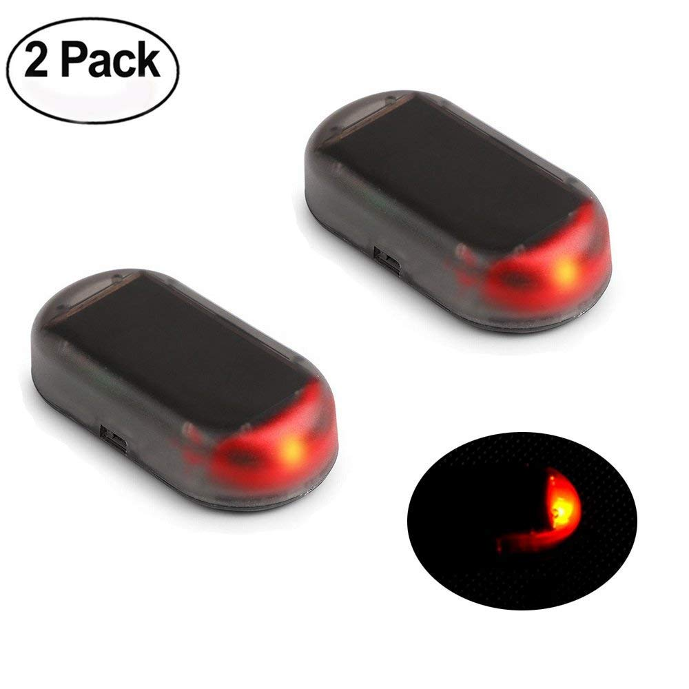 red Haichen 2pcs Solar Powered Dummy Car Alarm LED Light Security Warning Anti-thief Flashing Lamp
