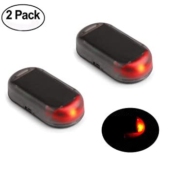 Haichen - 2 Luces LED de Alarma para el Coche con Energía Solar, Advertencia de Seguridad contra el Ladrón