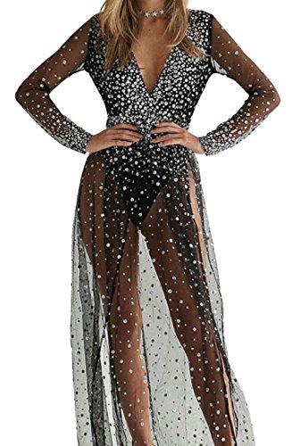 Dress See Deep V Mesh Long Black High Domple Womens Neck Split Through Sequins wRPaXX1qnx