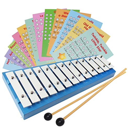 Xylophone for Children - 13 Diatonic White Metal Keys - with 23 Song Sheet Music ()