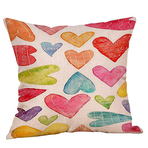 iYBUIA Valentine's Day Decorative Square Throw Pillow Covers Sweet Love Home Decor Cushion Cover18x18 Inch ()