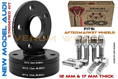 (4 Pc New Model Audi 12 mm & 17 mm Hubcentric Staggered Wheel Spacers + Chrome Conical Lug Bolts | 2009-2019 A4 A5 A6 A7 A8 All Road S4 S5 S6 S7 RS5 RS7 Q5 SQ5 W/Aftermarket Wheels)