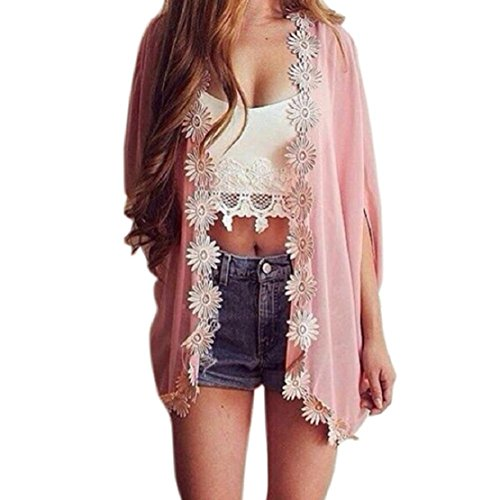 Kimono Sweater Jacket - Lookatool Women Ethnic Lace Flower Loose Kimono Cardigan Jacket Blouse Tops (S, Pink )
