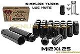 20 Pc 12x1.25 Thread Pitch Black Spline Duplex Security Lug Nuts | 2 Locking Socket Keys Fits Infiniti G35 G37 Q50 Q60 FX35