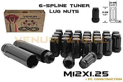 20 Pc 12x1.25 Thread Pitch Black Spline Duplex Security Lug Nuts | 2 Locking Socket Keys Fits Infiniti G35 G37 Q50 Q60 FX35 by Venum wheel accessories