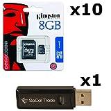 10 PACK - Kingston 8GB MicroSD HC Class 4 TF MicroSDHC TransFlash Memory Card SDC8/8GB 8G 8 GB GIGS (M.A8.RTx10.550) LOT OF 10 with USB SoCal Trade© SCT Dual Slot MicroSD & SD Memory Card Reader - Retail Packaging