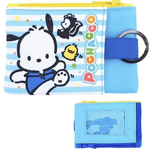 Pochacco Two Zip Pouch Coin Purse ID/Credit Card Case Key Holder Bag with ID Window
