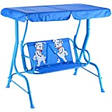 Costzon Patio Swing, Porch Swing with Safety Belt, 2 Seats Outdoor Lounge Chair Hammock with Canopy, Patio Deck Furniture for Kids (Puppy Pattern, Blue)