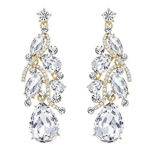 (BriLove Bohemian Boho Dangle Earrings for Women Crystal Multi Teardrop Filigree Cluster Chandelier Earrings Clear Gold-Toned)