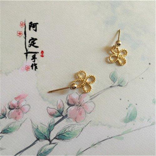 (usongs 18k gold-plated lucky four-leaf flower earrings small earrings simple mini short section women girls earrings earrings fall girl)