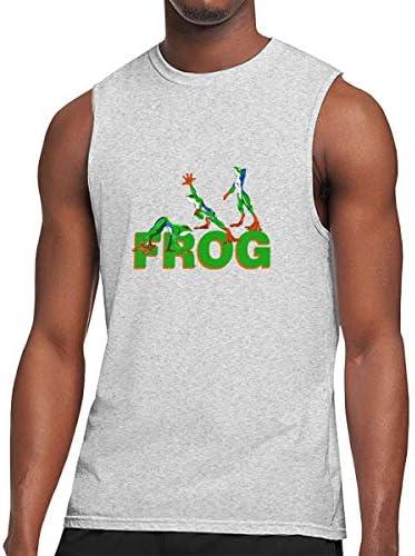 タンクトップ メンズ Anthro Frogカエル ノースリーブ Tシャツ 吸汗通気 フィットネス カジュアル インナーベスト スポーツ