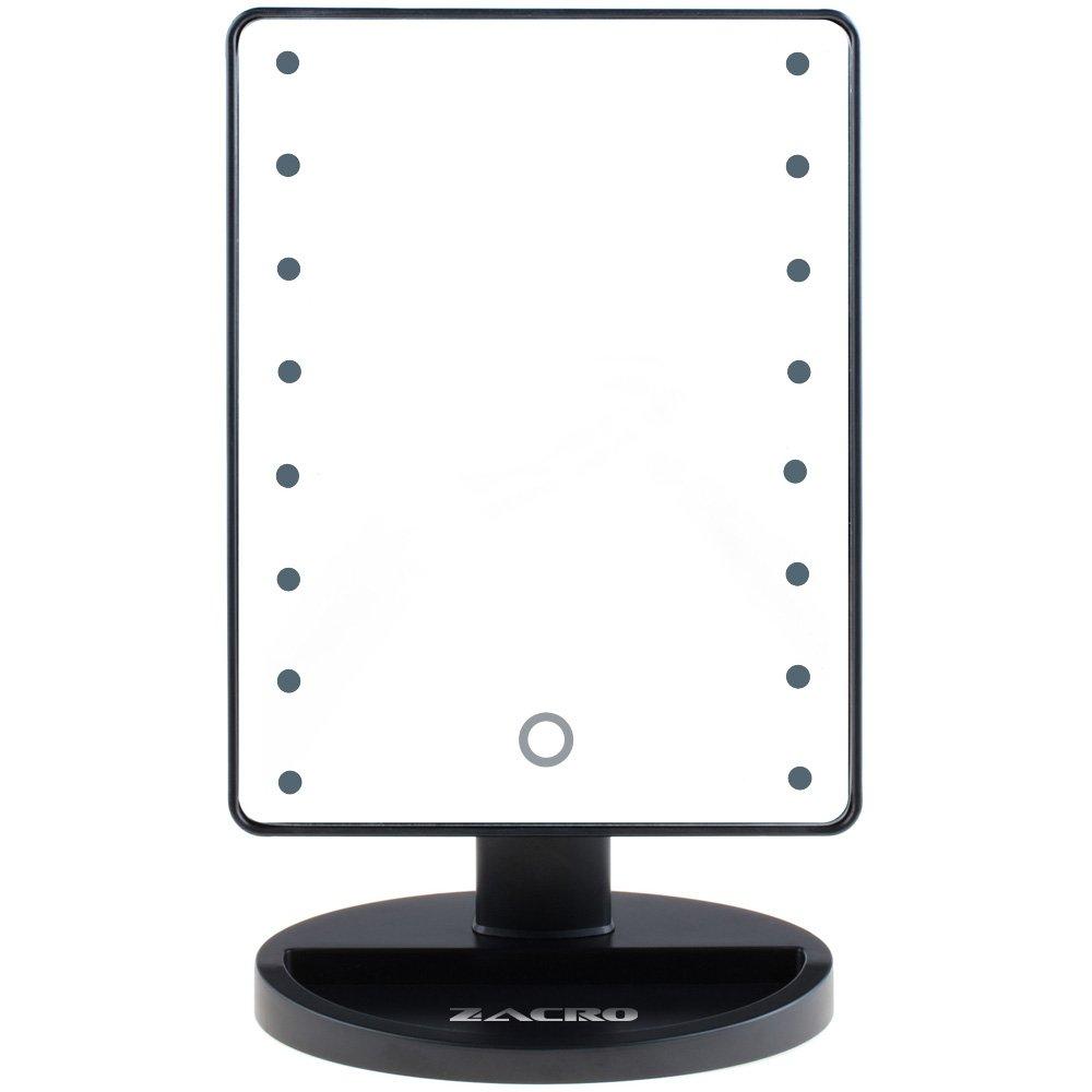 Noir DE RASAGE /Make Up Miroir Miroir de Beaut/é pour dessus de table Zacro LED Lumineux Miroir de maquillage/ /16/ampoules Dessus de table Miroir lumineux avec 4/x piles/ DE VOYAGE habiller