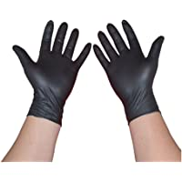 TB Black Nitrile Gloves, Disposable, Powder Free, Textured, safety protective,100 per box, Multiple sizes Disposable Gloves (Size : L)