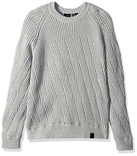 (A|X Armani Exchange Men's Crew Cableknit Sweater, Brooks Black Alloy Heather, M)