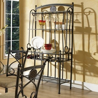 Storage Baker's Rack Made of Stainless Steel With Glass in Black Color Will Bring Charming Feeling In Your Kitchen Make it Simply Organized by eCom Fortune