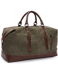 Travel Duffel Bag Canvas Bag PU Leather Weekend Overnight Bag Overnight