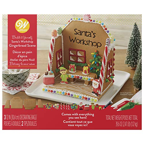 (Golden Gift Box - Ginger Bread House Santas Workshop Scene Ornaments Kit - Gingerbread No Bake Complete With Cookies Icing and Decorations (Santas Workshop Scene))