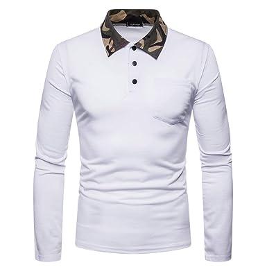 Hombres Color Liso Manga Larga Camisa Polo Simple Ocio Basic ...