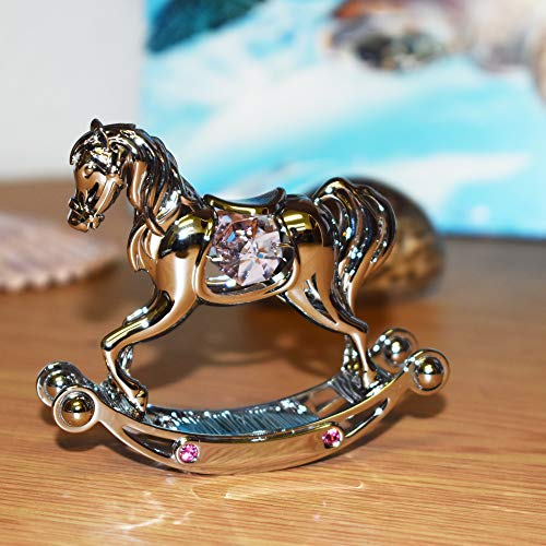 - Best Gift for Baby Shower- Chrome Plated Rocking Horse Free Standing with Swarovski Element Crystal - Also for All Occasions (CU-134-PI)