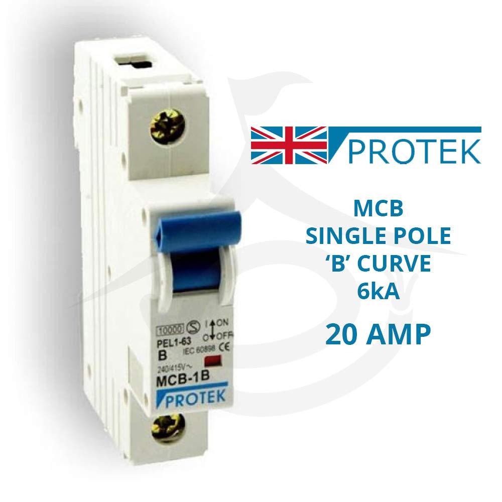 SP PROTEK MCB Miniature Circuit BreakerMCB6-120B 20A Single Pole B Type Single Module 6kA Breaking Capacity