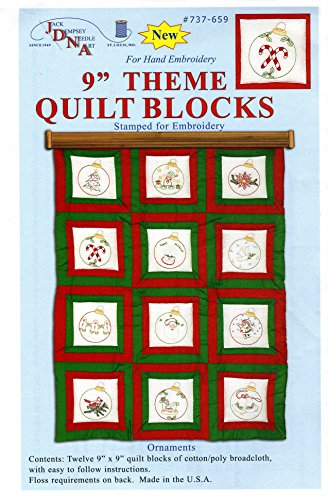 Jack Dempsey Themed Stamped White Quilt Blocks, 9-Inch by 9-Inch, Ornaments, 12-Pack Hoop Quilt Block