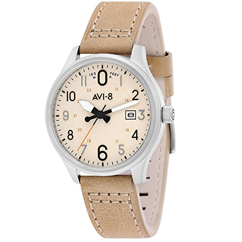 AVI-8 Men's AV-4053-0H Hawker Hurricane Stainless Steel Watch with Cream Genuine Leather Band