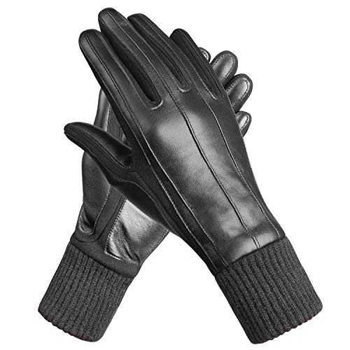 MEVIRA Women Winter Genuine Leather Gloves,Touchscreen Texting Driving Warm Lady Outdoor Gloves(Wool Fleece Lining & Knitted Cuffs Design-Size 7.5