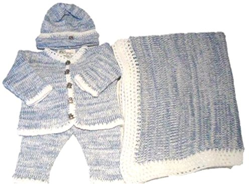 Blue White Tweed Cotton Cardigan Pant Hat Set and matching blanket(18-24mo) by Gita