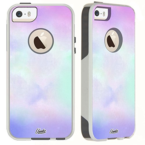 Unnito iPhone 5 Case / iPhone 5s / SE Case [Dual Layered Hybrid] Protective Commuter Case for iPhone 5 / 5S / SE (White Case - Pastel Sweet)