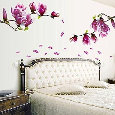 Fullkang Fresh Magnolia Flower Wall Sticker Decal Removable PVC Wall Sticker Home Decor