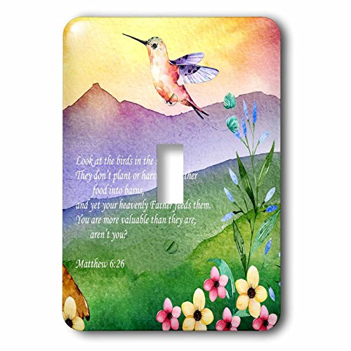 3dRose TNMGraphics Scripture - Matthew 6 Birds of the Sky Neither Sow nor Reap - Light Switch Covers - single toggle switch (lsp_286295_1) by 3dRose