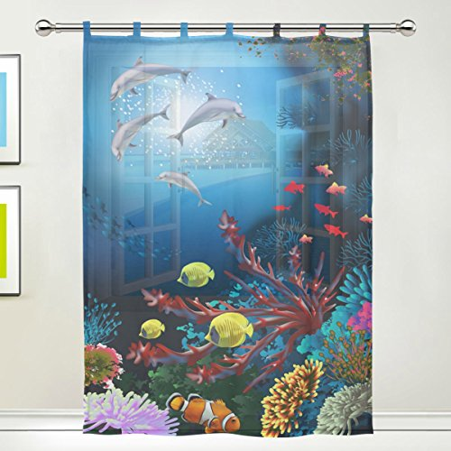 Window Room Decoration Sheer Curtain,Marine Moti Ocean Dolphin Tropical Fish Coral,Single panel Gauze Curtain Drape Panel Valance 55 x 78 inch (Dolphin Window)