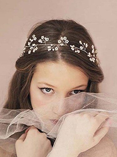 Venusvi Wedding Headbands for Bride - Bridal Headpiece with Bead - Hair Accessories