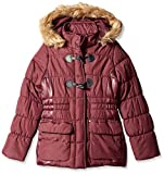 Jessica Simpson Big Girls Faux Fur Toggle Parka, Mulberry, 10/12