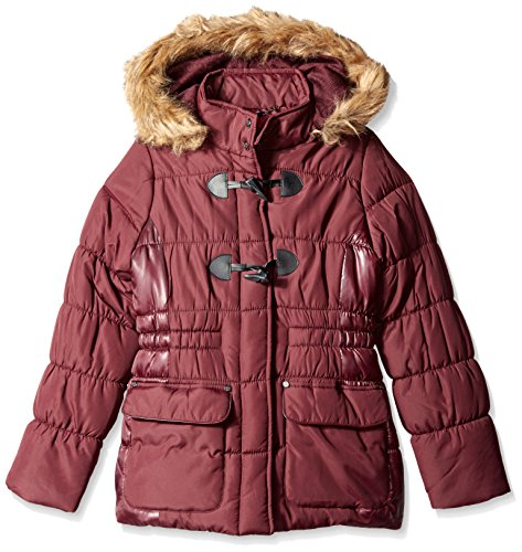 - Jessica Simpson Big Girls Faux Fur Toggle Parka, Mulberry, 7/8