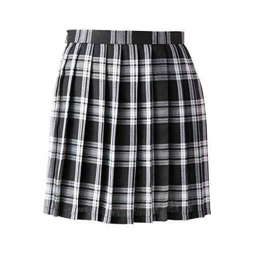 Women School Uniforms plaid Pleated Mini Skirt, Waist(68.5cm/27inch) M, Black White (27 Inch Skirt)