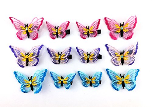 yueton Embroidery Butterfly Barrettes Alligator