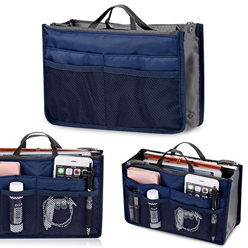Women Lady Organizer Tidy Insert Handbag Travel Liner Organiser Large Liner Tidy Bag (Dark Blue)