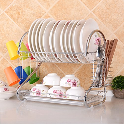 (MIOIM Dish Drying Rack with Drain Board Stainless Steel Cutlery Rack Organized Utensil Holder (2-Tier))