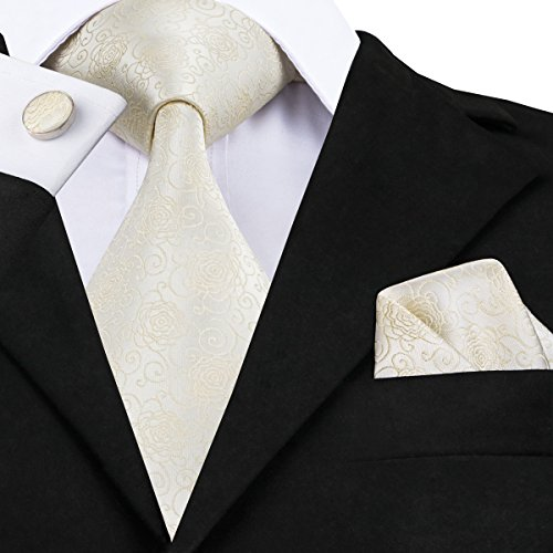 Dubulle Mens Wedding Ties Beige Creamy-White Necktie Silk Pocket Square with Cufflinks Solid Plain Pure Color - Pattern Necktie Cufflinks