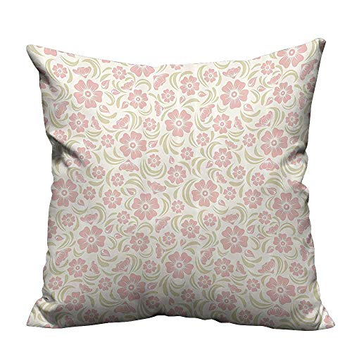 alsohome Modern Fashion Cushion Cover Vintage Old Shied FloralSilhouettes Briar Shrubs Wild Roses Retro Resists Wrinkles 24x24 inch(Double-Sided ()