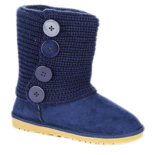 [Womens Short Style Winter Faux Fur Soft Snow Winter Boots With Circle Buttons (10, Navy)] (Microfiber Boots)