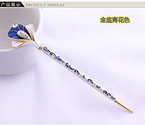 Fashion Hair Decorative Chinese Traditional Style Women Girls Hair Stick Hairpin Hair Making Accessory with Lotus 1pc/package (dark blue with golden)