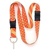 Buttonsmith Orange Dots Premium Breakaway Lanyard - Safety Breakaway, Buckle and Flat Ring - Made in USA