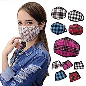 MUKHAKSH Girl's Cotton Check Anti Pollution Dust Mouth Nose Cover Mask (Multicolour, Above 7 years, Print May Vary…
