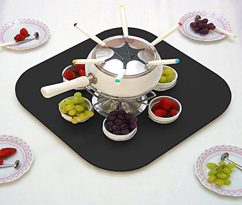 (Spinning Plate Lid Board for Dining Tables 50 cm/20 pol - Black Lacquered)