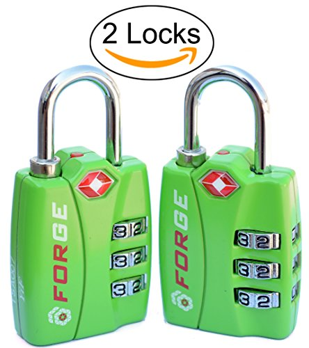 Forge TSA Locks 2 Pack – Open Alert Indicator, Alloy Body with